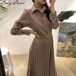 Vintage pleated Elegant Long sleeve Vintage Dress