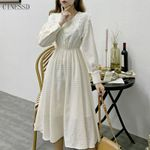 Lace Patchwork Elegant Long Sleeve Mesh Vintage Dress
