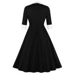 Cotton Office Elegant Retro Half Sleeves Vintage Dress