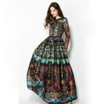 Long Sleeves Elegant Ball Gown Slim Retro Print Vintage  Dress
