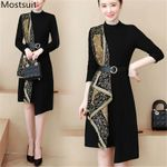 Belt Long Sleeve Stand Collar Elegant  Printed Vintage Dress