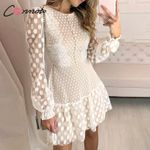 Elegant Mesh Short Polka Dot Lace Vintage Dress