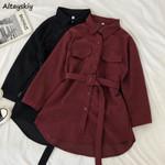 Long Sleeve Buttons Turn-down Collar Elegant Vintage Dress