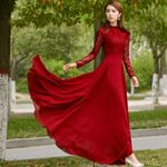 Slim Long Sleeve Elegant Lace Chiffon Vintage Dress