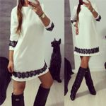 Lace Casual O-Neck Long Sleeve Tunic Party Dress