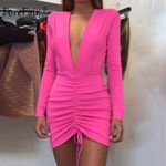 Deep V Neck Lace Up Sexy Long Sleeve Party Dress