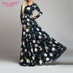 Retro Floral Long Sleeve O Neck Fashion Elegant Party Dresses