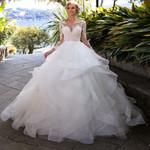 Princess Long Sleeve Backless Ruffles Vintage Wedding Dress