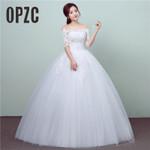 Fashion Princess Lace Half Sleeve Luxury Wedding Dress