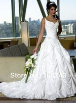 new design hot  spaghetti straps A-line lace up wedding dress