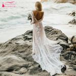 Sexy Backless Bridal Long sleeve Wedding Dresses