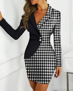Elegant Contrast Striped Insert Patchwork Plaid Blazer Dress