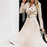 Vintage Pleated Plaid Elegant Blazer Dresses