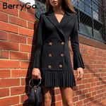 Double breasted pleated casual blazer dresses