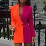 Sexy Deep V Neck Button Patchwork Long Sleeve Blazer Dress