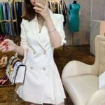 Notched Pleated Casual Slim Double-Breasted Blazer Dress