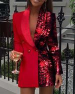 Double Breasted Lapel Collar  Long Sleeve Blazer Dress