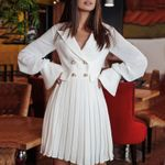 pleated Sexy Double Breasted Blazer Dress