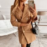 Collar Button A-Line Long Sleeve Blazer Dress
