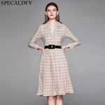 Long Sleeve Elegant Pleated  Fashion Blazer Dress