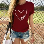 Casual Short Sleeve Graphic Love Heart Printed T-shirt
