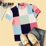 Casual Slim Fit Stand Collar Mock-Neck Patchwork T Shirt