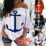 Sexy Off Shoulder Half Sleeve Boat Anchor Print T Shirt
