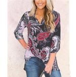 Print V-neck nine Sleeve Loose Blouse