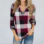 Roll Up Long Sleeve V Neck Button Plaid Casual Blouse