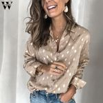 Fashion Long Sleeve V-neck Elegant Office Blouse