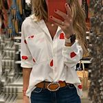Fashion Long Sleeve Slim Printed Turn-down Collar Blouses