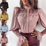 Fashion Long Sleeve Button Down Chiffon Blouses