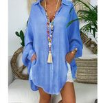 Long Sleeve Turn Down Collar Cotton Linen Blouses