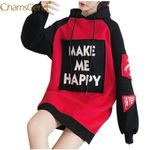 Long Sleeve Pullover HAPPY Patchwork Hoodie