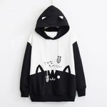 Pocket Thin Pullover Casual Long Sleeve Kitty Hoodies