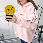 Casual Full Sleeve Letter Print Pullover Loose Hoodie