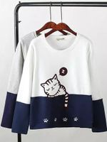 Casual fashion Fashion Cat cute Sweatshirts