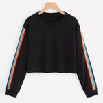 Long Sleeve Patchwork O Neck Casual Pullover Sweatshirt