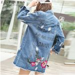 embroidery embroidered bomber denim jacket