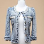 Pearl Beading Casual Pattern Denim Jackets