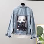 Loose Vintage Fashion Loose Short Sequin Denim Jacket