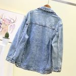 Lace Pleated Hip Hop Casual  Loose Fit Denim Jacket