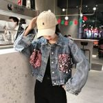 Loose Casual  Long Sleeve Lapel Collar Denim Jacket
