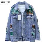 Vintage Single Breasted Hole Long sleeve Loose Denim Jacket