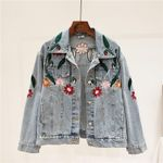 Casual Single Breasted  Turn-Down Collar Floral Denim Jacket