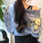 Beaded Embroidery Flower Denim Jackets