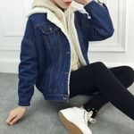 Loose Fleece Thick Lambs Wool Denim Jacket