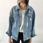 Loose Ripped Hole Retro Turn-down Collar Denim Jacket