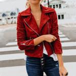 Biker Zip Up Slim Leather Faux Suede Short Velvet Jacket