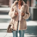 Fashion Lapel  Long-sleeved  Explosion Plush Jacket
